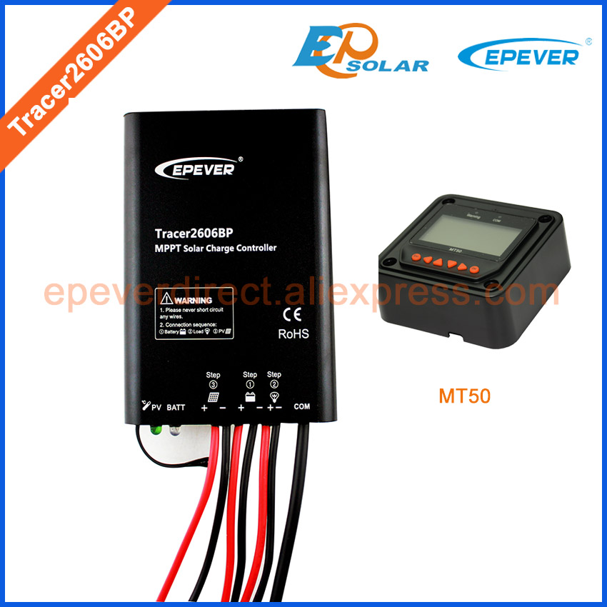 EPsolar charger mppt solar controller 10A 10amp Tracer2606BP 12v 24v auto work remote meter MT50 waterproof IP67 solar power charger regulator tracer5206bp with mt50 remote meter in black color 12v 24v auto work 20a 20amp free shipping