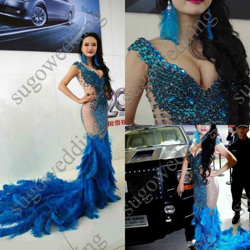 Luxury Royal Blue Sweetheart Short Sleeves Mermaid Train Evening