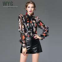 High Quality Fashion Flower Print Women Chiffon Shirt 2017 Autumn Silk Georgette Bow Tie Ruffle Sleeve