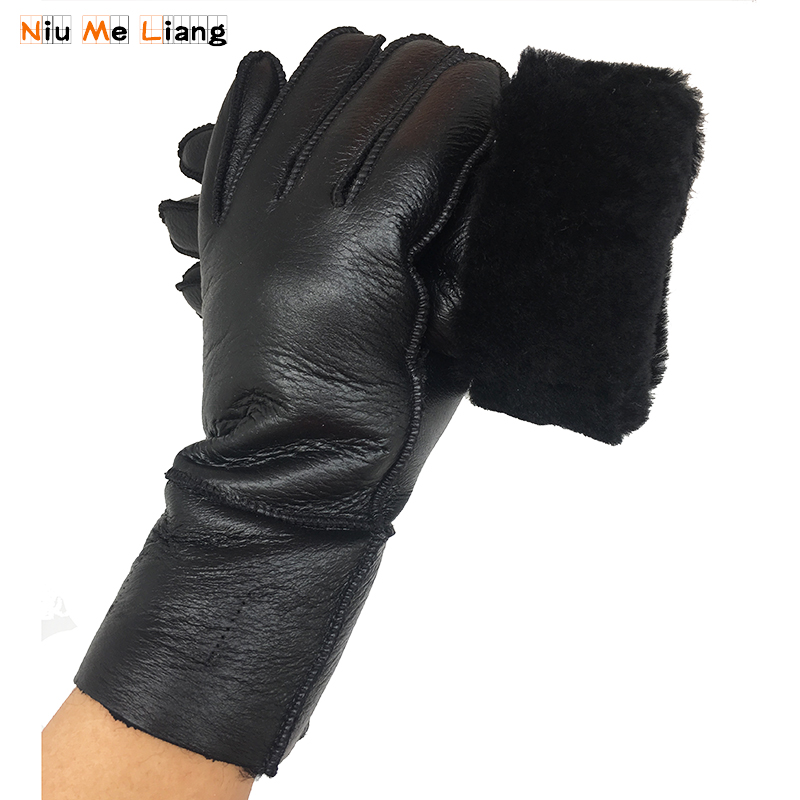 Russian 2018 Winter Women's Gloves 100% Real Leather Sheepskin Gloves Hot Warm Stylish Full Finger Ladies Gloves Mittens N19