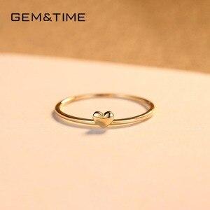 Image 5 - פנינה & זמן אמיתי 14K זהב מוצק לב טבעות לנשים 14K זהב 585 הבטחת טבעת אירוסין תכשיטי צהוב זהב Anillos R14004
