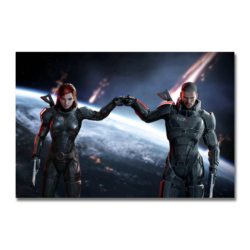Art Silk Or Canvas Print Mass Effect Hot Game Poster 13x20 24x36 inch For Room Decor Decoration-004(China)