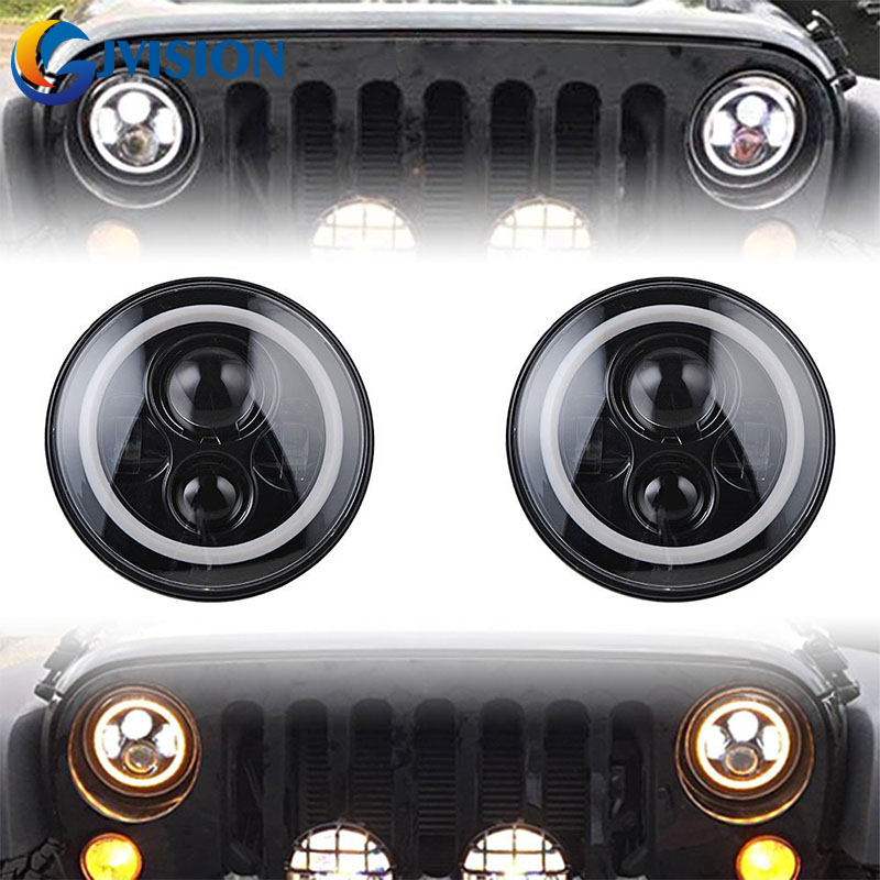 Фото For Jeep Wrangler 4x4 Off road 40W 7 Inch led headlight White DRL Halo Amber turn signal for Land Rover Lada Niva headlights. Купить в РФ
