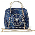 2016Woman Denim Handbags Bags Vintage Rhinestone Shoulder Bags Women's small Bags jean Bolsas Femininas for Women
