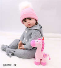 Noble princess doll 61 cm 100 Boutique Doll Reborn Lifelike Silicone Reborn Baby Dolls and Soft pink hat For Girls big Gifts BJD