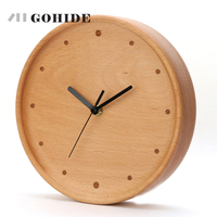 JUH New Arrival Simple Design Circular Wooden Wall Clock on Wall Quartz Wall Clock In The Living Room Needle Display Home Design