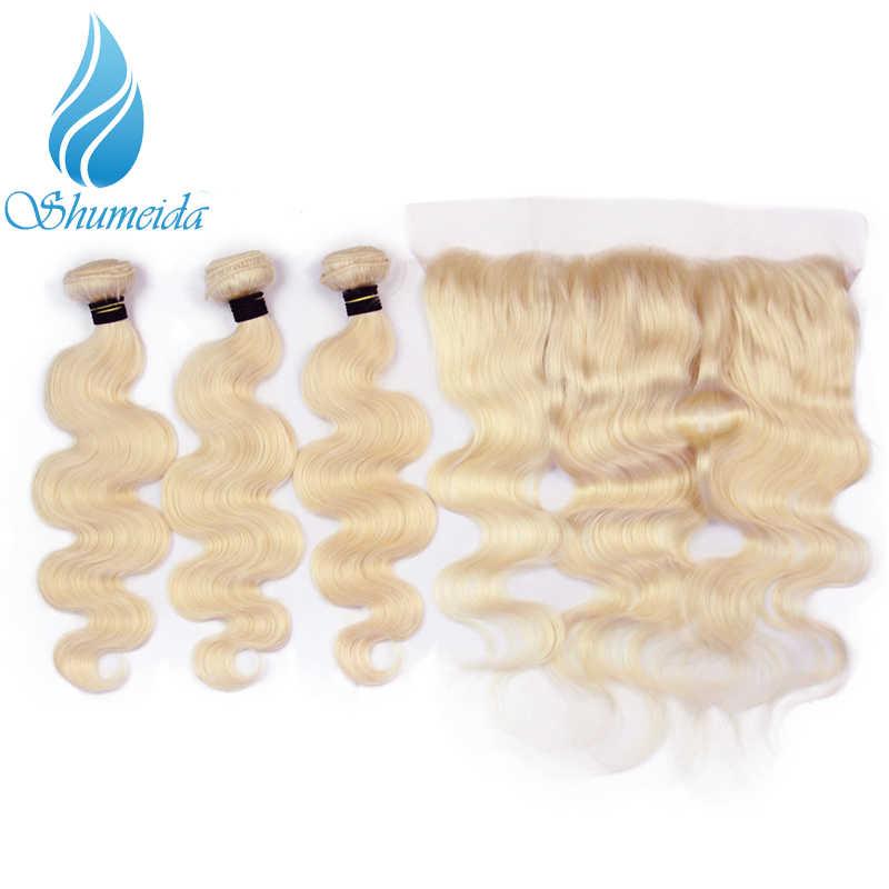 Shumeida бразильские объемные волнистые пучки светлых волос с фронтальной 613 цвет Remy человеческие волосы уток уха до уха Кружева Фронтальная 13*4