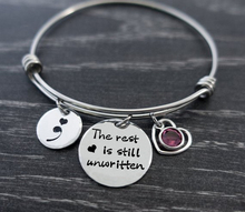Adjustable bracelet The rest is still unwritten  Suicide Awareness Semicolon Birthstone Stainless Steel Bangle Women YP4223