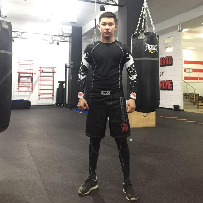 Men's Tracksuit set Jogging suits Gym clothing compression tights rash guard male sports suit shirts leggings suits mma crossfit