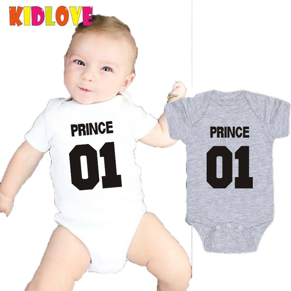 Kidlove Summer Baby Boy Girl Printed Short Sleeve Triangle T shirts Gray White Prince Princess Letter Babys Cothing 1-24M SAN0