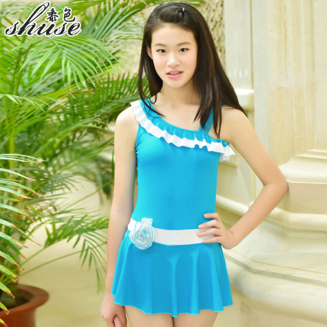 43a8d62c3f6 One Shoulder Swimsuits Big Girl Swim Dress Children's Swimwear One Piece  with Safety Shorts Solid Color