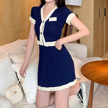 2 Two Piece Skirt Set Women Club Outfits V-neck Knit Top + High Waist A-line Pleated Sexy Short Sleeve Tracksuit