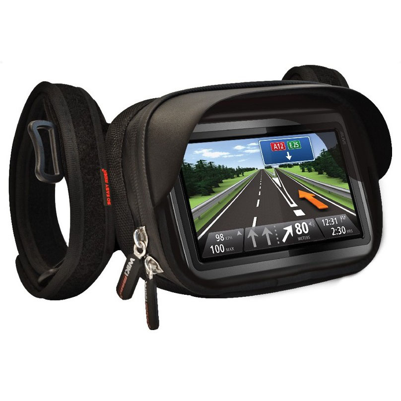 so easy rider waterproof gps mount holder case for tomtom magellan garmin gps in 6 inch to tie. Black Bedroom Furniture Sets. Home Design Ideas