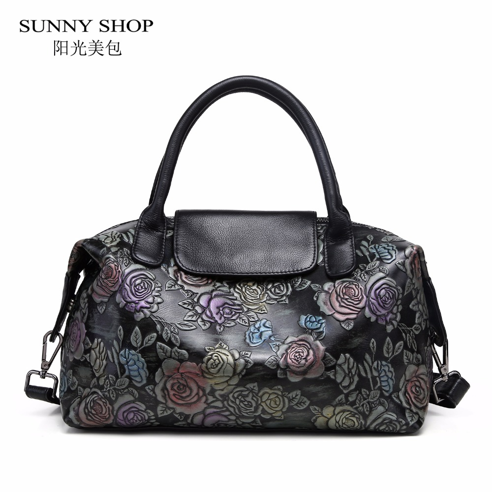 SUNNY SHOP 100% Genuine Leather Luxury Designer Women Bag Fashion 3D Floral Printing Handbags Cow Leather Soft Business Work недорго, оригинальная цена