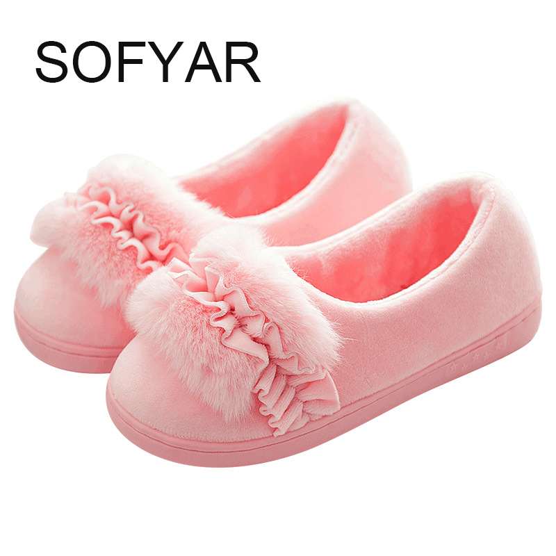 female thick cotton shoes winter indoor warm skid household cotton slippers cute confined shoes flat with heel Pregnant women