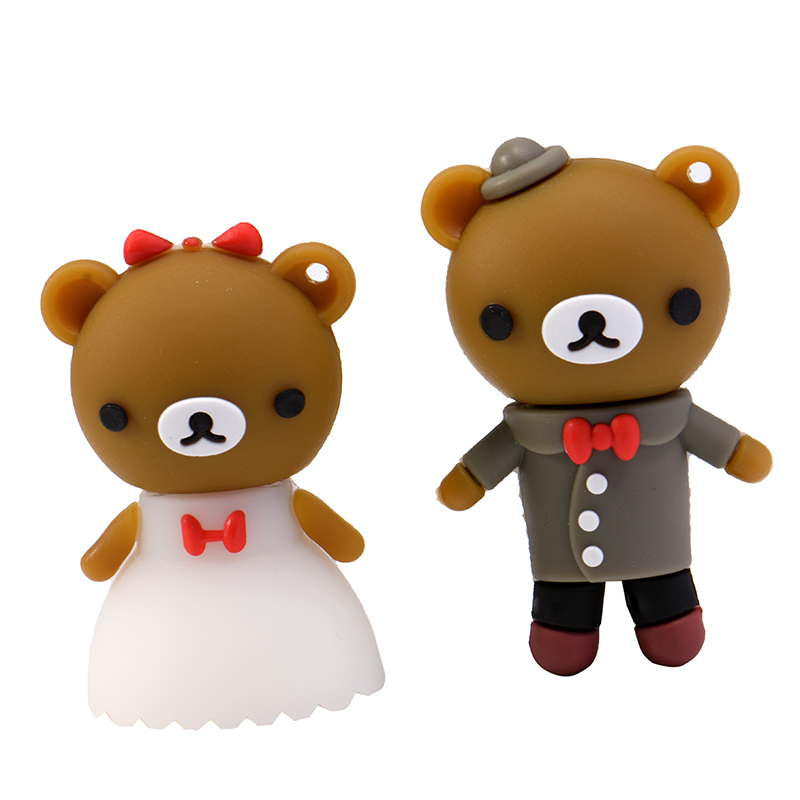 Lovely Lover Bear Usb Flash Drive Cute Cartoon Marriage Bears Pendrives 8gb 32gb 100% Real Capacity Memory Stick 16gb Mini Gift