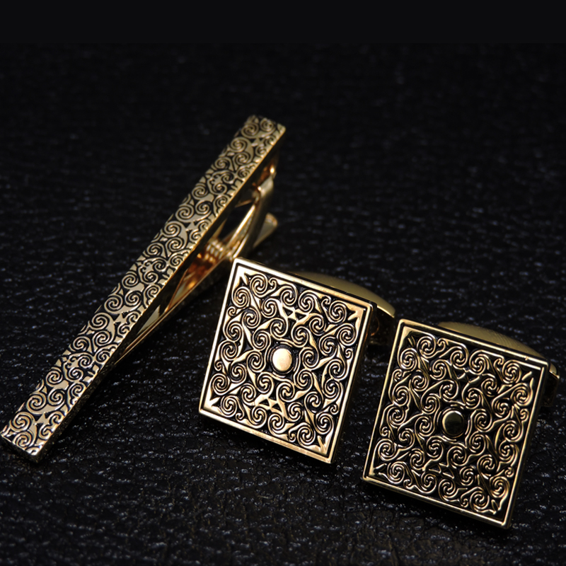 Brand Necktie Tie Clips & Cufflinks Set Men Wedding Tie Bar Tie Collar Pin Golden Engraving Business Suit Accessories Gift