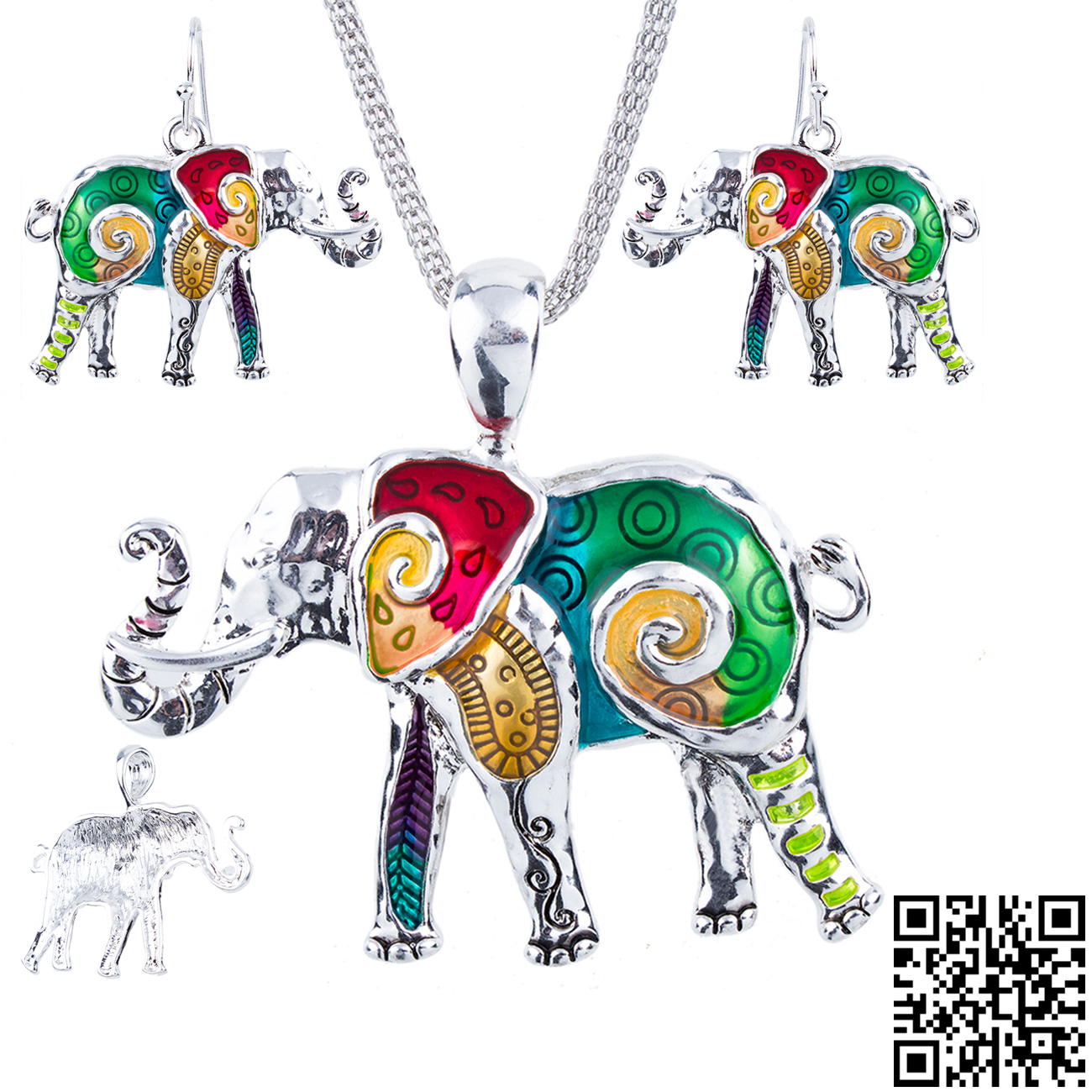 1set Elephant Necklace Earrings Set Alloy Unique Elephant Design Gift Animal Pendant Rainbow Charm Jewelry Sets Accessories in Jewelry Sets from Jewelry Accessories