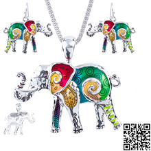 1set Elephant Necklace Earrings Set Alloy Unique Design Gift Animal Pendant Rainbow Charm Jewelry Sets Accessories
