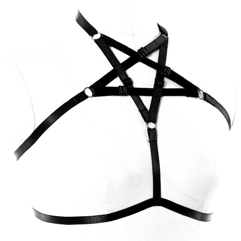 0005d8d9eff9b ... Body harness For Women Sexy Tops Strap cage Bra Elastic Belt Fetish  Erotic Rave Harness Pentagram ...