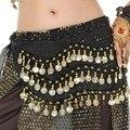 3 Linhas Encantadoras Moedas de Ouro Chiffon de Dança Do Ventre Lenço de Quadril Cintura Cadeia Saia Do Envoltório Belt Violeta para Dançarinos