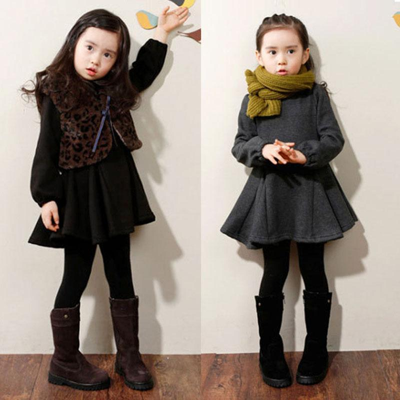 2017 Winter Girls Dress Thicken Warm Cotton Clothes Kids Cute Style Comfortable Material with Big Bow Solid Sweet Bottom Clothes girls cute knitted sweater with skirt kids set wear sweet style with bow knot for spring