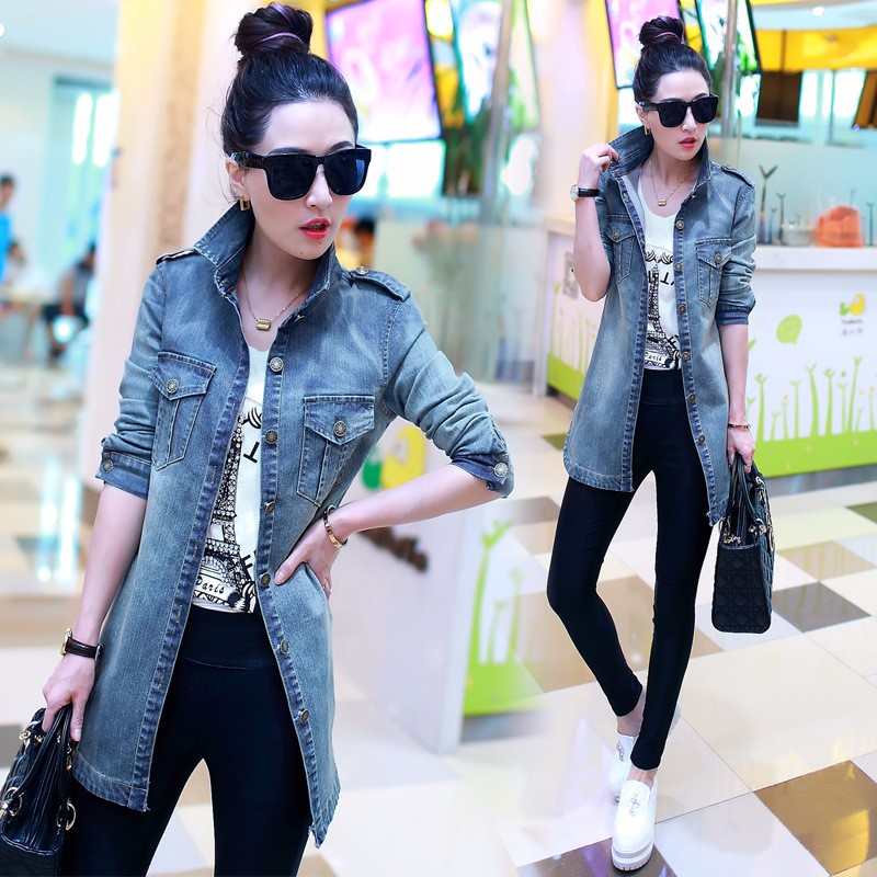 Denim Trench Coat For Women Casual Female Plus Size Jean Windbreaker Jacket