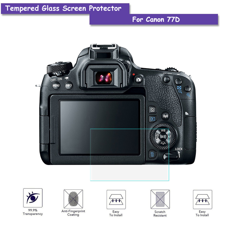 9H Tempered Glass LCD Screen Protector Real Glass Shield Film For Canon 77D Camera Acces ...