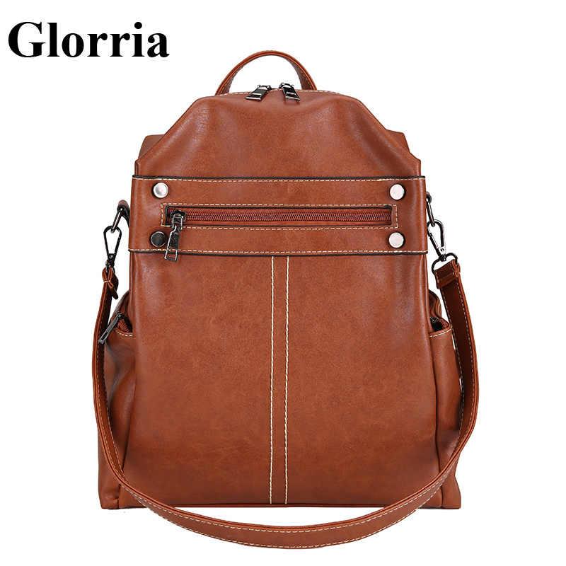 Glorria Luxury Bag Women Backpack Designer Bags Famous Brand Women Leather  Bagpack 2018 Student School Bag f6a5eaaecff9c