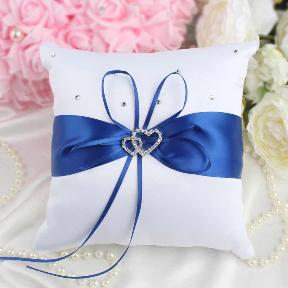 OurWarm 20 センチメートル結婚式の枕クッションリングダブルハートリングラインストーン枕洗礼結婚式誕生日を好意