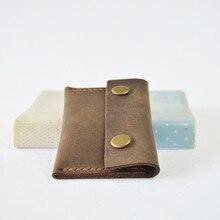Ручной crazy horse coin кошельки держатели Двухместный hasp Ультра-тонкий кожа коровы монеты сумка старинные Дизайнер кошелек для монет