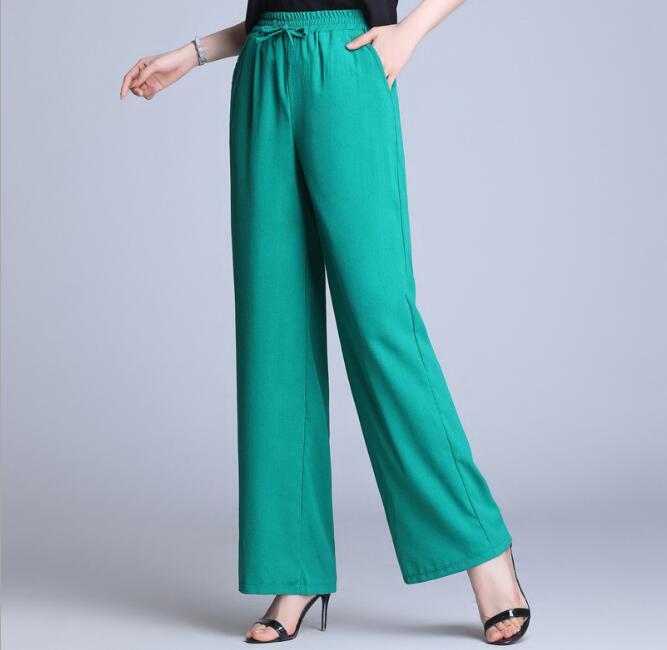 Summer   Pants   Women 2019 Long Solid Elastic High Waist Loose Casual Trousers Breathable Cotton Linen Draped   Wide     Leg     Pants   Ladies