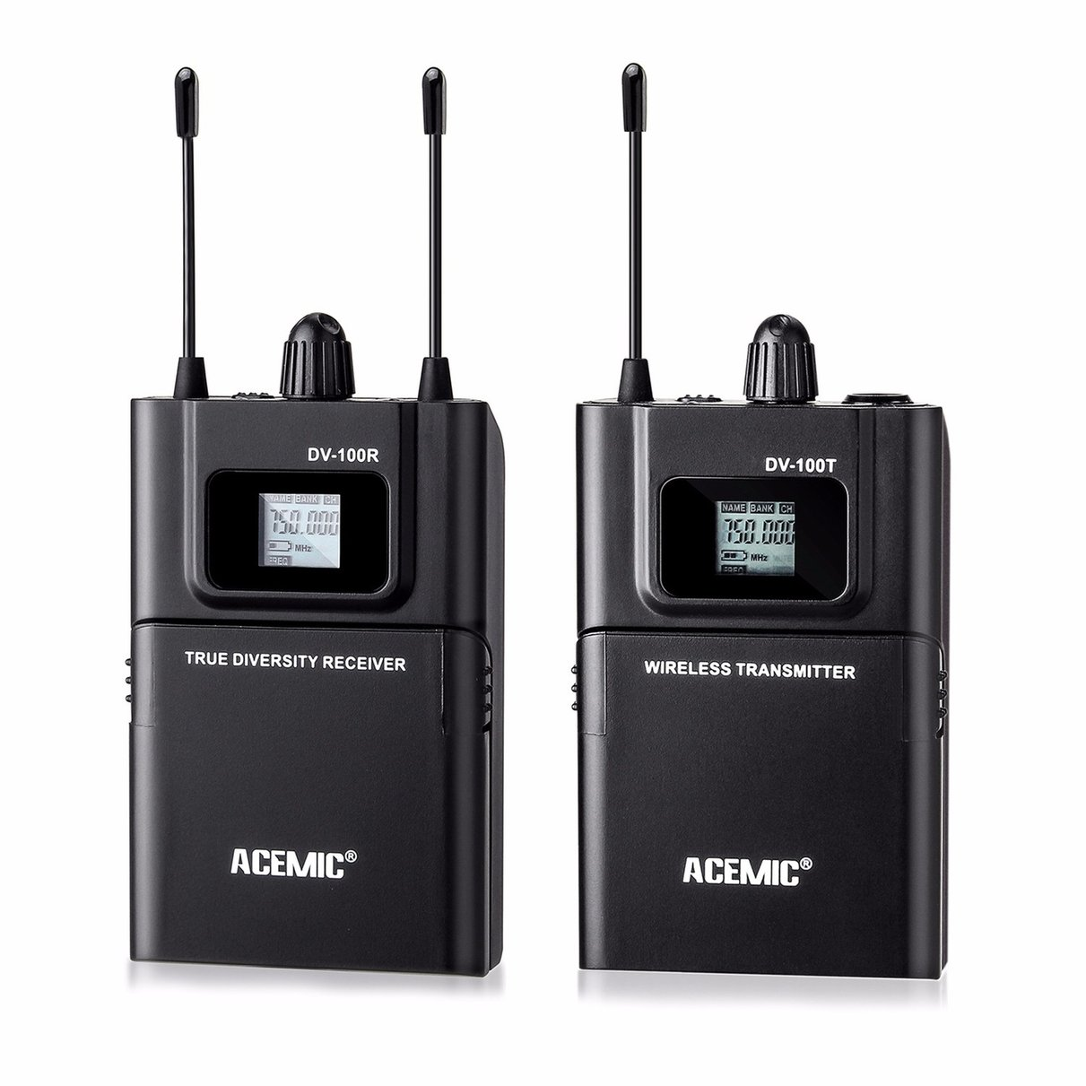 acemic dv 100 transmitter receiver mic true diversity interview wireless microphone system. Black Bedroom Furniture Sets. Home Design Ideas