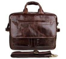 2016 Maletin Hombre 100% Guarantee Natural Genuine Cow Leather Men Handle Men's Shoulder Messenger Bag 15 Inch Laptop Briefcase