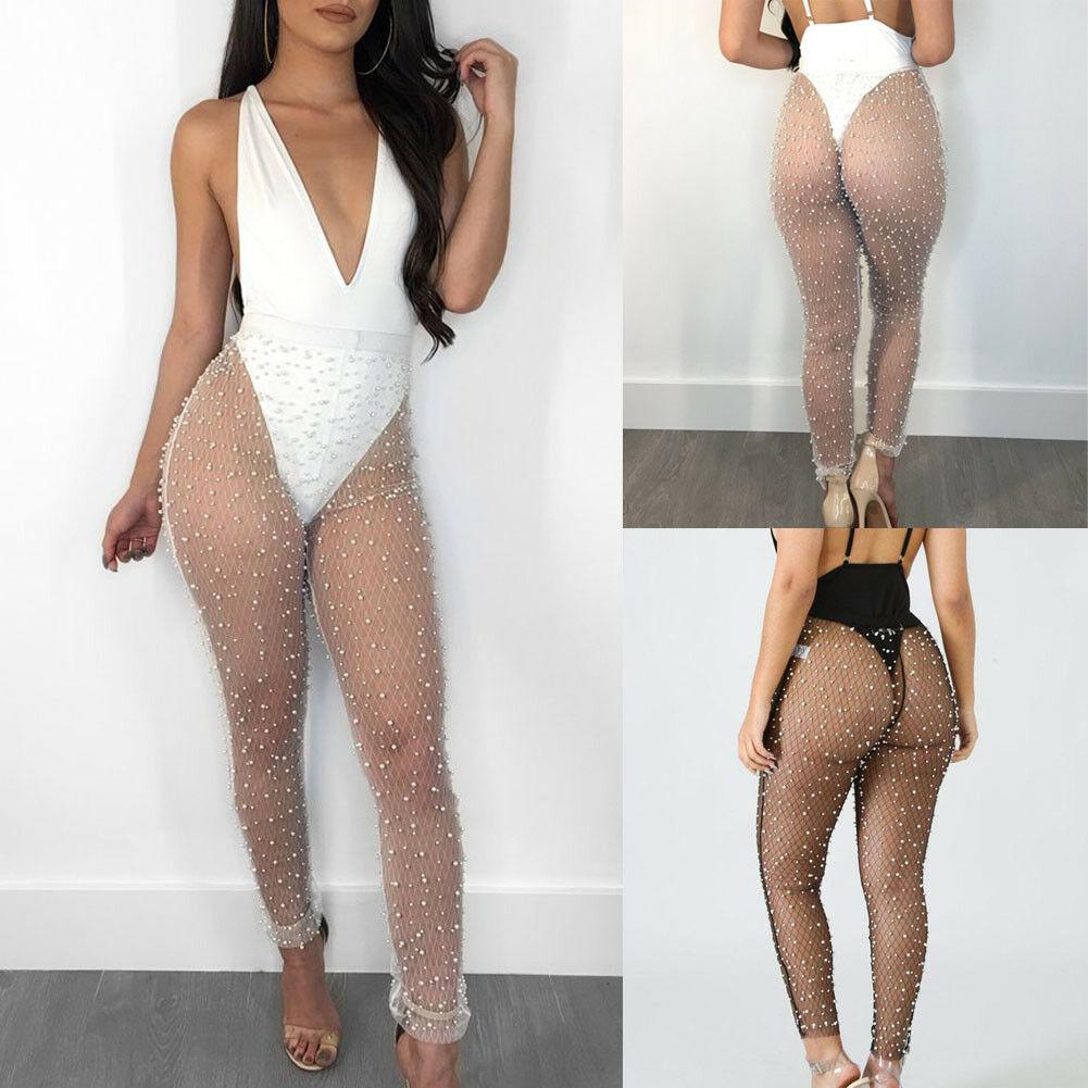 Women Sexy Beach Mesh Sparkling Sheer Bikini Cover Up See Through Pants Set Swimsuit Swimwear Cover Up