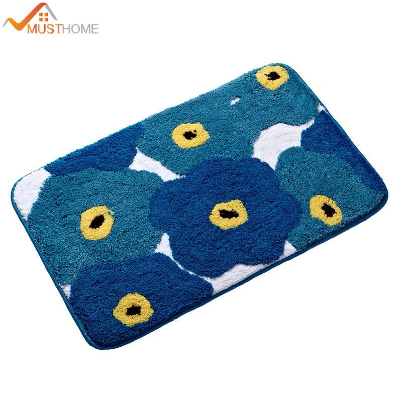 19.6 ''Wx31. 4''L/50x80 cm Cartoon fiori blu tappeti da bagno TPE fondo antiscivolo