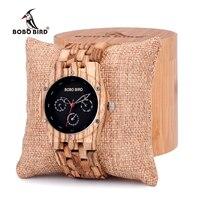 بوبو طائر زيبرا الخشب الرجال أسبوع تاريخ الوقت 24 ساعة خشبية الساعات جولة كوارتز ساعة مع علبة هدية الخشب مخصصة شعار