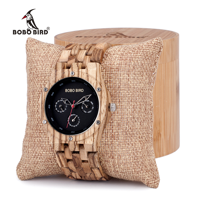 BOBO BIRD Zebra Wood Men's Date Time Week 24 Hours Wooden Watches Round Quartz Watch With Gift Wood Box custom logo bobo bird metal case with wooden fold strap quartz watches for men or women gifts watch send with wood box custom logo clock