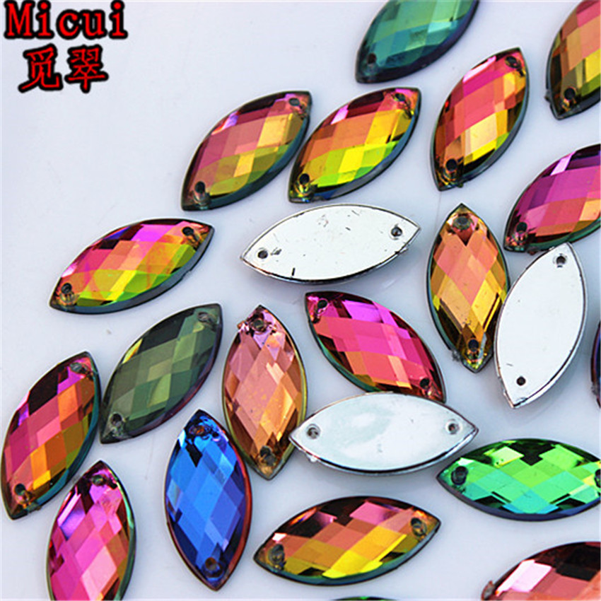 Micui 100pcs 9*20mm Rainbow Color Horse eye Acrylic crystal Rhinestones For Sewing Wedding Bags Stones Accessores Sew on ZZ372B