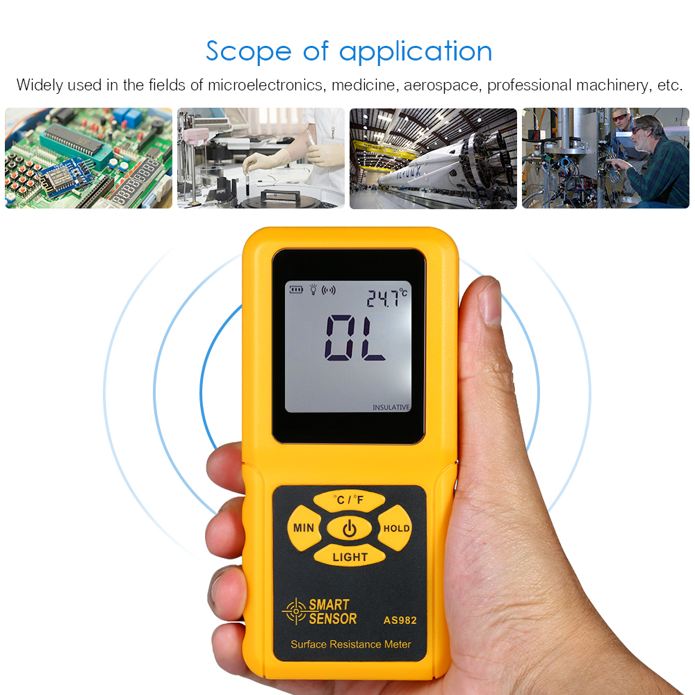 AS982 Handheld LCD Surface Resistance Meter Digital Tester with Temperature Measurement and Data Holding Function Resistance Meters     - title=