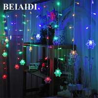 BEIAIDI 5M Snowflakes Window Curtain String Light Romantic Curtain Icicle Lights String Garden Family Holiday Christmas Garland