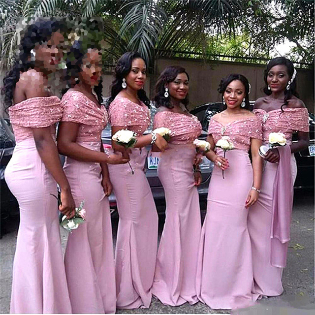 Fashion Pink Off Shoulder Lace Bridesmaid Dresses Long Arabia African  Nigerian Wedding Women Maxi Gowns African Bridesmaid Dress 809ee294dc49
