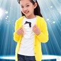 Outono Crianças Blusas Meninas Camisola, Nova Chegada 2015 O-pescoço Mohair Malha Sweatercoat Para Criança, Bebê Menina Blusas Livre grátis