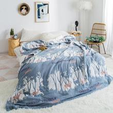 Blue throw blanket breathe freely summer quilts 100% cotton duvet 200*230cm AB side bedspread 4 layer Gauze home bedding covers(China)