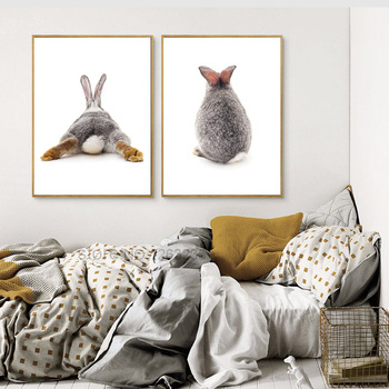 Conejo Nordico Poster Quadro Cuadros Pared Arte Lienzo Pintura Pared
