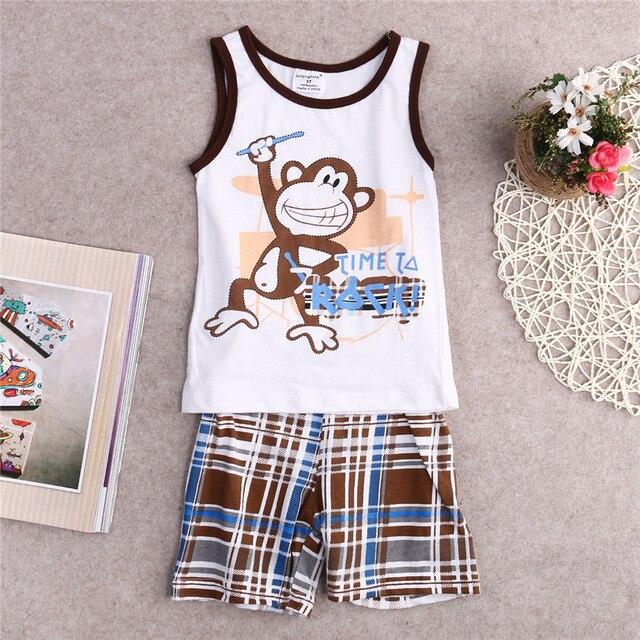 e2df3ddfeda7 Toddler Kids Baby Boys Summer Outfits T-shirt Tank Tops Pants Plaid 2pcs  Clothes Set cx