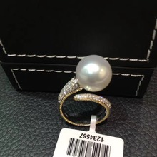 12-13MM natural southsea pearl ring 18K gold with diamond adjustable size big pearl ring fine women jewelry luxury