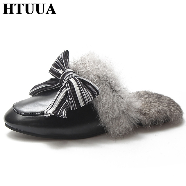 d2741a0e8110 HTUUA Fashion Fluffy Fur Slippers Women Flat Mules Shoes Big Bow Furry  Slides Plush Warm Winter