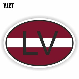 YJZT 12.8CM*8.6CM Motorcycle LV LATVIA Flag Decal Country Code Car Sticker Styling 6-0930(China)