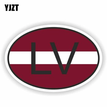 YJZT 12.8CM*8.6CM Motorcycle LV LATVIA Flag Decal Country Code Car Sticker Styling 6-0930 image